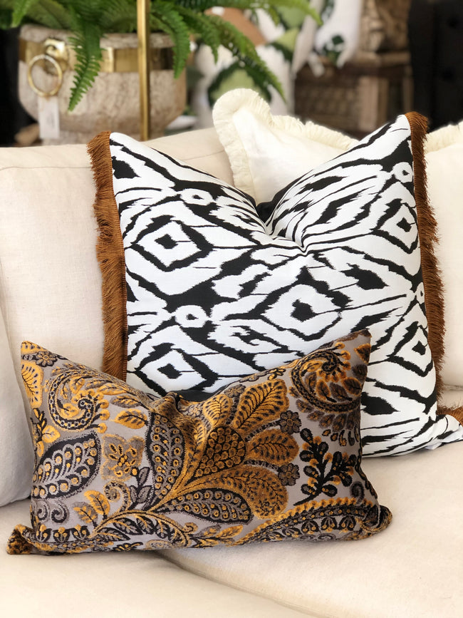 Embroidered Velvet Black and Gold Cushion