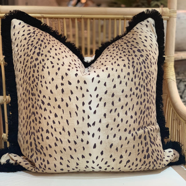 Cheetah Cushion With Black Fringing 60 x 60