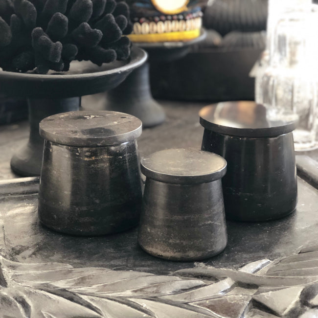 Black Marble Jar w Lid