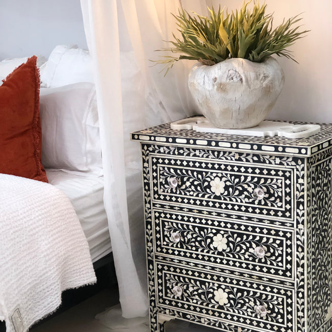 Bone Inlay 3 Draw Bed Side Table Black