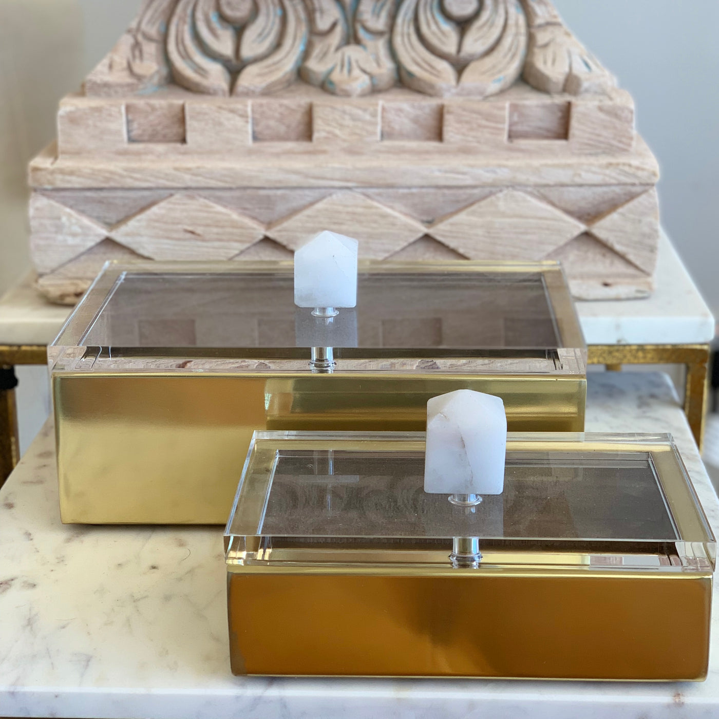 Gold Box w Clear Marble Lid