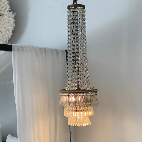 Cast Iron & Crystal Chandelier 155h x 85dia