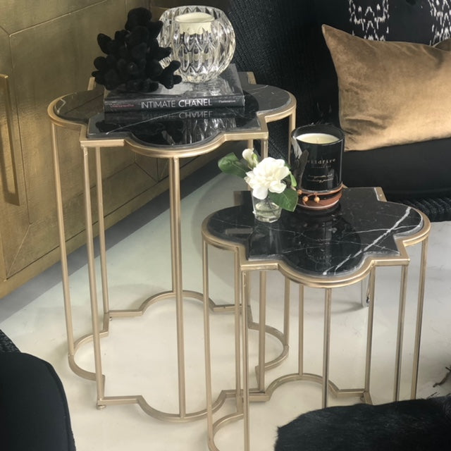 Set of Gold And Black Marble Tables