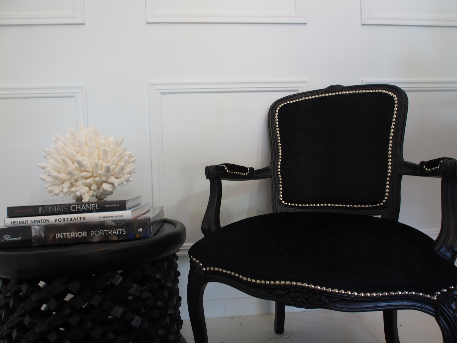 Sophia Chair Black Velvet Silver Studs