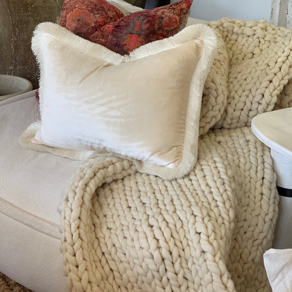 Pure Wool Throw Cream