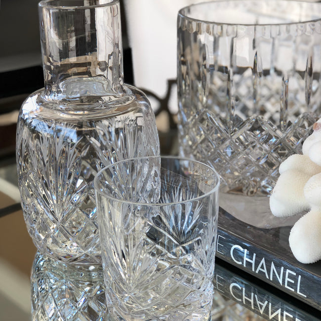 Fan cut crystal bedside Water Carafe w tumbler