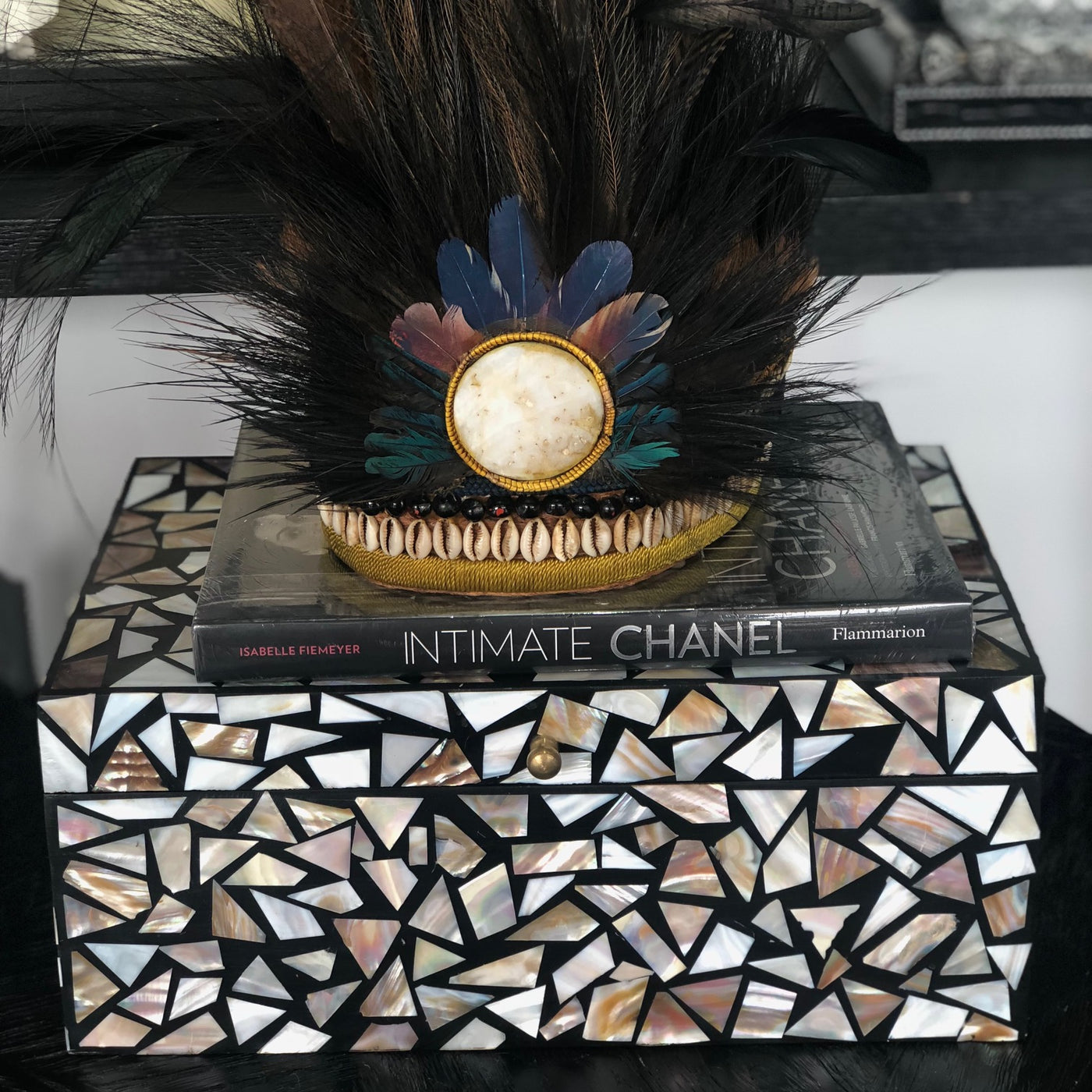 Mother of Pearl cut Inlay Box w Mirror