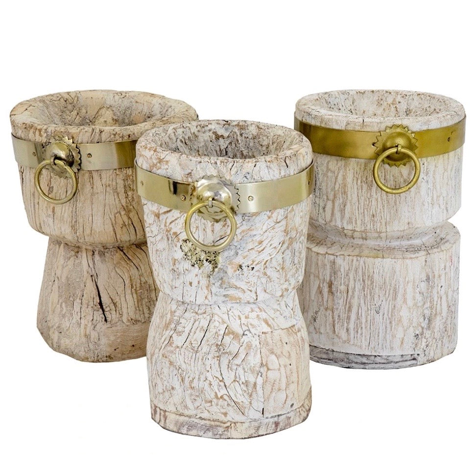 Whitewash Wooden Pot with Brass Handle