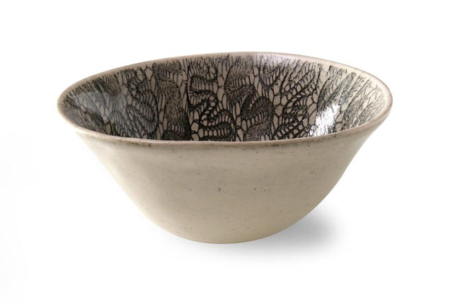 Wonki Ware Pudding Bowl Black Fern Lace