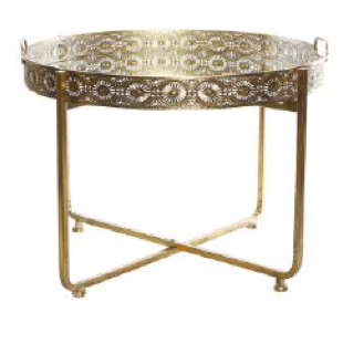 Metal And Mirror Gold Tray Table