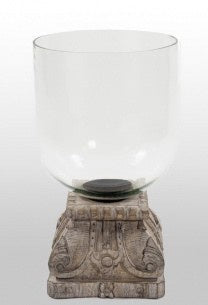 Black Med Wood Glass Hurricane