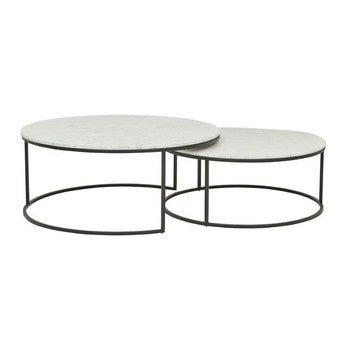 Marble & Metal Nest Coffee Tables 95dx40h&80dx40h