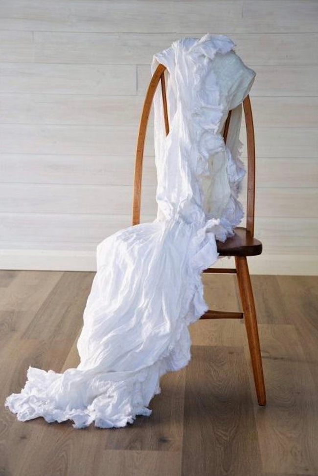 Isle White Ruffled Linen Throw