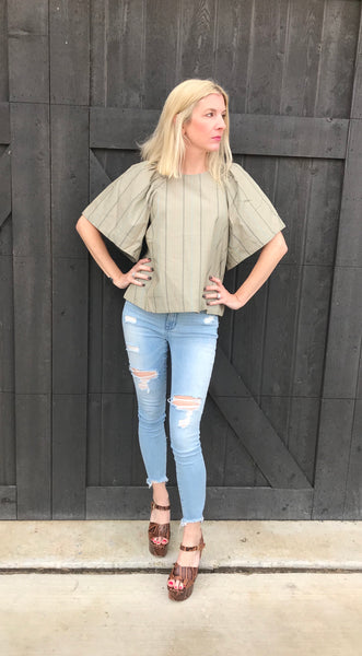 Sage shoulder blouse
