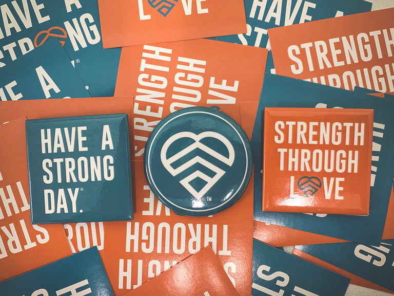 HAVE A STRONG DAY. | MENTAL HEALTH | LOGO BUTTON - LOVE, ANXIETY, DEPRESSION, SELF-CARE - HAVE A STRONG DAY.