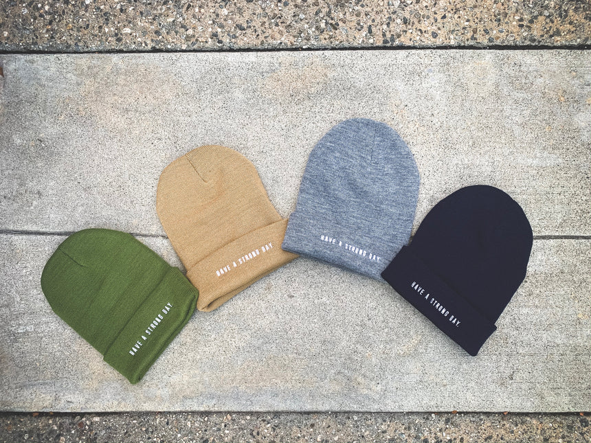 HAVE A STRONG DAY. | MENTAL STRENGTH BEANIE (KHAKI)-MENTAL HEALTH AWARENESS, ANXIETY, DEPRESSION - HAVE A STRONG DAY.