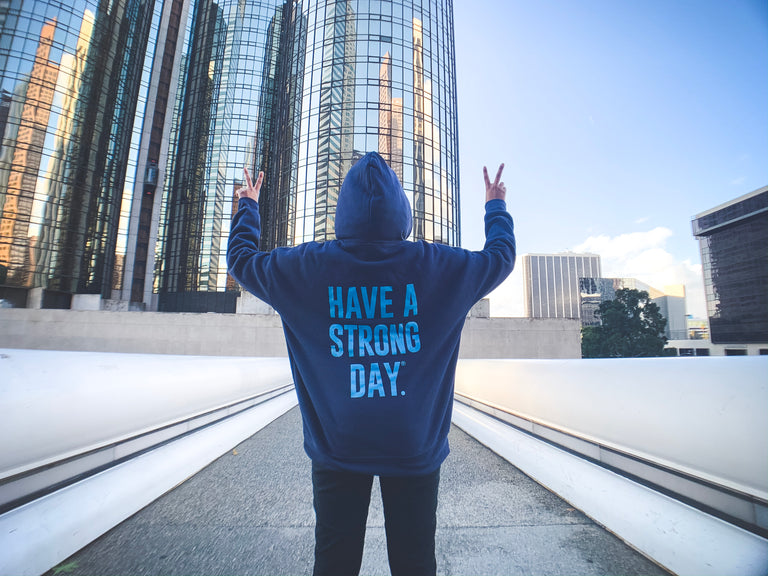 HAVE A STRONG DAY. | MENTAL STRENGTH HOODIE (NAVY)-MENTAL HEALTH AWARENESS, ANXIETY, DEPRESSION - HAVE A STRONG DAY.