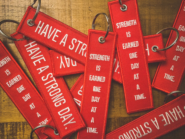 HAVE A STRONG DAY. | MENTAL HEALTH | (RED)FLIGHT KEYCHAIN - LOVE, ANXIETY, DEPRESSION - HAVE A STRONG DAY.