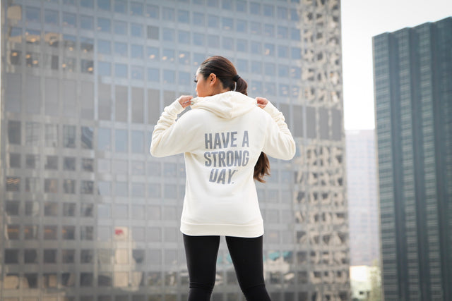 HAVE A STRONG DAY. | SPECIAL EDITION HOODIE (CREAM)-MENTAL HEALTH AWARENESS, ANXIETY, DEPRESSION