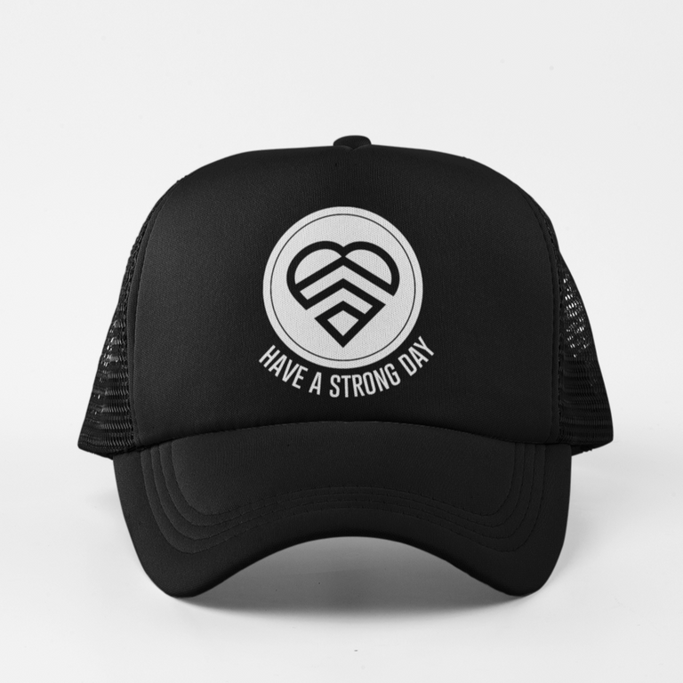 HAVE A STRONG DAY | MID-CROWN TRUCKER (BLACK) - MENTAL HEALTH AWARENESS, ANXIETY, DEPRESSION,