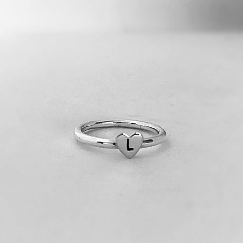Heart Initial ring Plain Band