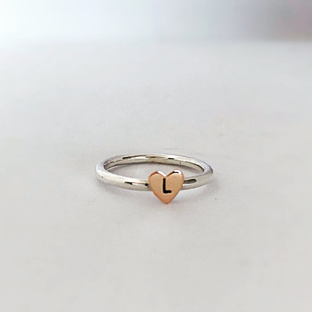 Heart Initial ring with Gold Letter