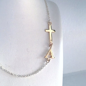 Single Letter Necklace and Bracelet Combination