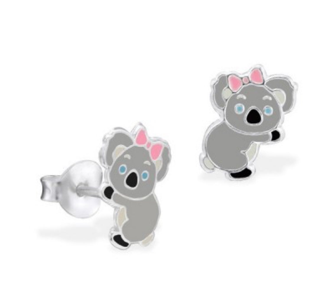 Sterling silver and enamel Koala earrings