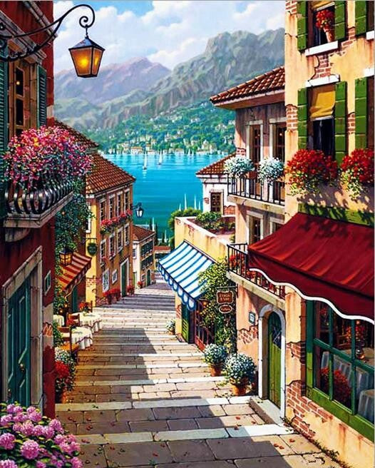 Paint By Numbers - Pretty Mountain European Town