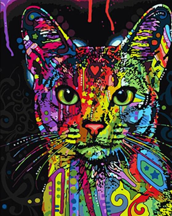Paint By Numbers - Abstract Colorful Cat
