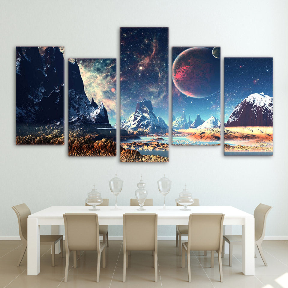 5 Piece Future Earth Canvas Prints