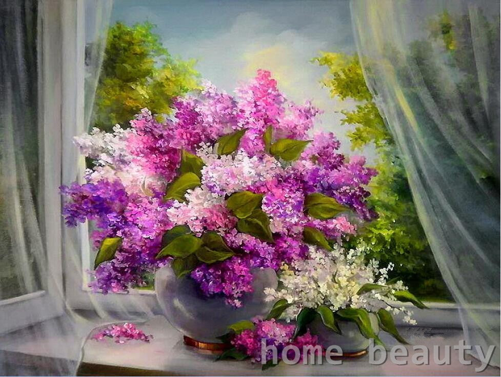 Paint By Numbers - Purple Flowers by the Window (no frame)