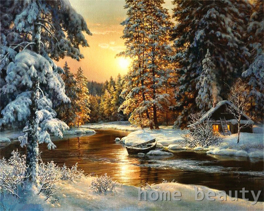 Paint By Numbers - Gorgeous Sunset Snowy Cabin by the River