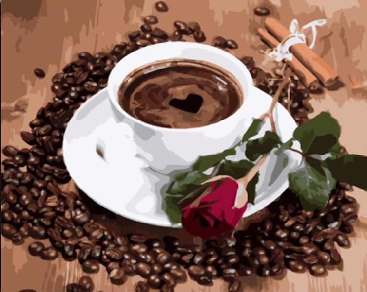 Paint By Numbers - Coffee with Beans and Red Rose