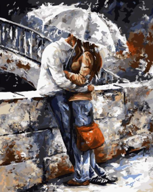 Paint By Numbers - Couple Kissing Under Umbrella by River