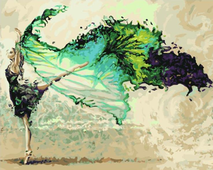 Paint By Numbers - Dancing Turquoise Ballerina