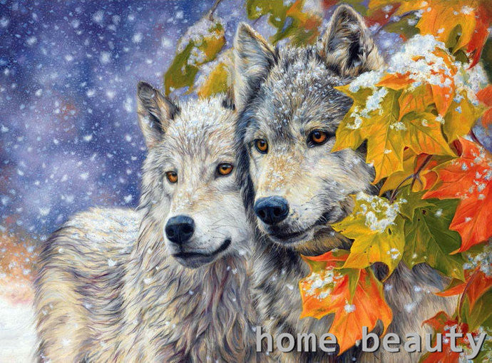 Paint By Numbers - Wolves in Fall