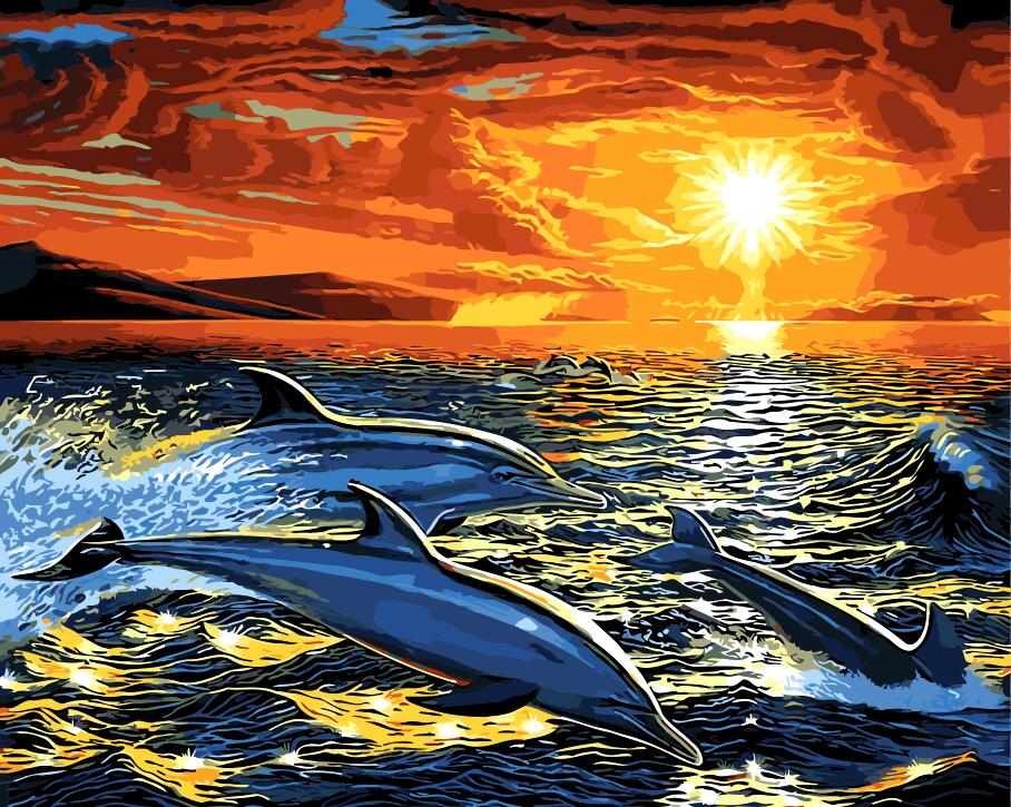 Paint by Numbers - Dolphins Jumping in the Ocean