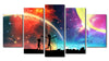 5 Piece Colorful Galaxy Canvas Prints