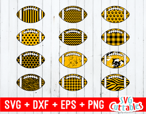 Patterned Footballs set of 12