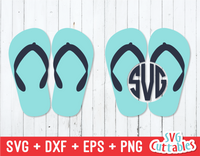 Flip Flop Monogram Frame | Summer | SVG Cut File