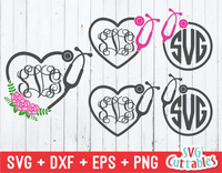 Nurse Monogram Frames | SVG Cut File