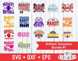 Softball svg Template Bundle #1