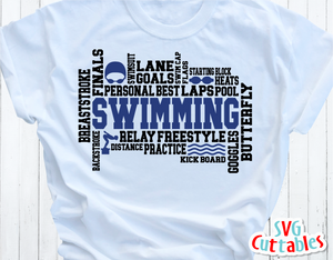 Swimming Word Art | SVG Cut File