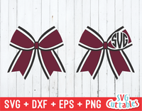 Three Color Cheer Bow | Monogram Frame SVG Cut File
