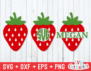 Strawberry | Monogram Frame | SVG Cut File
