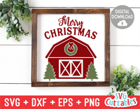 Merry Christmas Barn | Christmas Cut File