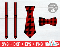 Buffalo Plaid Ties and Suspenders | Cut File