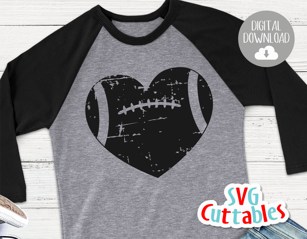 Distressed Football Heart