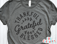 Thankful Grateful Blessed | Autumn | Fall Cut File